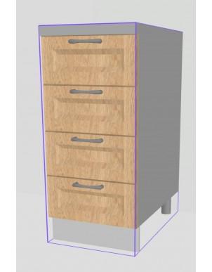 Base Cassettiera per Cucina in Legno Massello H80 X L40 X P60 - 4 Cassetti -