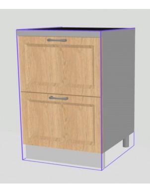 Base Doppio Tirante per Cucina in Legno Massello H80 X L90 X P60  - 2 cassetti -
