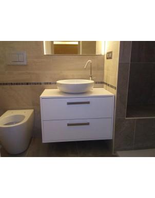 Mobile Bagno per Lavabo in Legno Massello Naturale Rifinito ad Olio