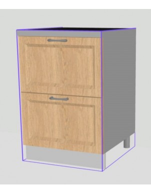 Base Doppio Tirante per Cucina in Nobilitato H80 X L90 X P60  - 2 cassetti -